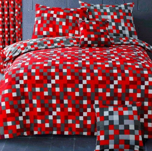RED GREY SQUARE PIXEL CHECK TRENDY TEENAGE REVERSIBLE BEDDING DUVET QUILT COVER SET
